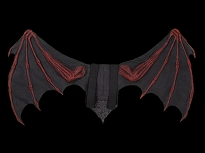 Large Bat Wing Blacklite Red